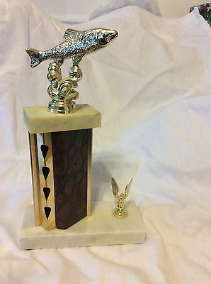 Trout Trophy With Marble Base And Eagle Trim