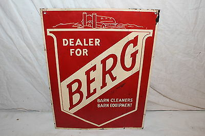"Vintage 1950's Berg Barn Cleaners Cow Pig Farm Feed Seed 16"" Metal Sign"