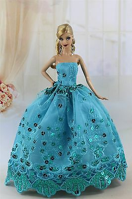 Blue Fashion Party Sequin Dress/Evening Clothes/Gown For Barbie Doll S197P