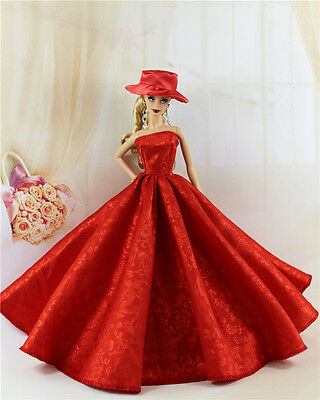 Red Fashion Royalty Princess Party Dress/Clothes/Gown+hat For Barbie Doll E09P