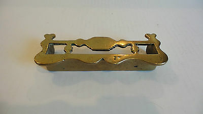 NICE MINIATURE 19th C. HAND CRAFTED BRASS FIREPLACE FENDER, TRIVET / SURROUND