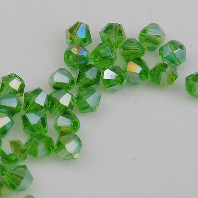 100pcs grass green AB Crystal glass 4mm #5301 Bicone Beads loose beads