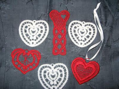 6 Red White Crochet Lace Tatter Thread Heart Ornaments Ornies Valentine Love