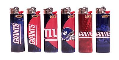 BIC NFL New York Giants Lighters Set of 6, All Brand New and Officially Licensed