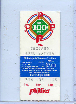 6/2/84 Philadelphia Phillies vs. Chicago Cubs Baseball Ticket Stub/The Vet