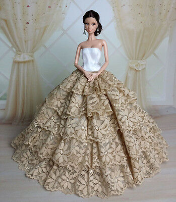 Fashion Royalty Princess Party Dress/Clothes/Gown For Barbie Doll S176P5