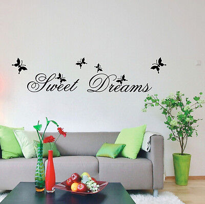 Sweet Dreams Butterfly Removable Wall Sticker Vinyl Decal Home Decor Mural Art