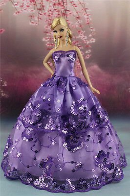 Purple Fashion Party Dress/Wedding Clothes/Gown For Barbie Doll S186P8