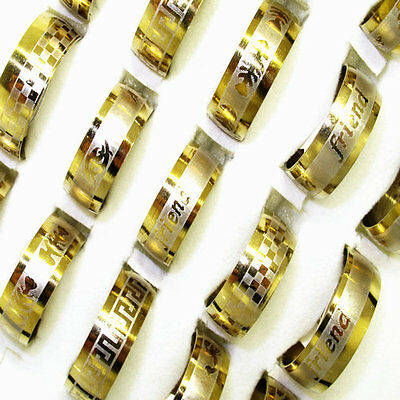 Wholesale jewelry lots 20pcs Mix Arc Gold Stainless Steel Fashion rings BD81
