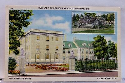 New York NY Binghamton Our Lady of Lourdes Memorial Hospital Postcard Old View