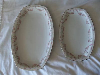 2 China Platters Heinrich H&Co Selb Bavaria Rose/ Meat Platters