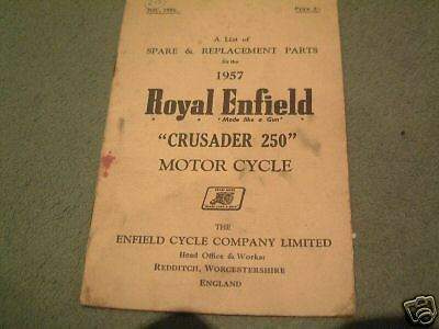 Royal Enfield Crusader Parts Book 1957 Original