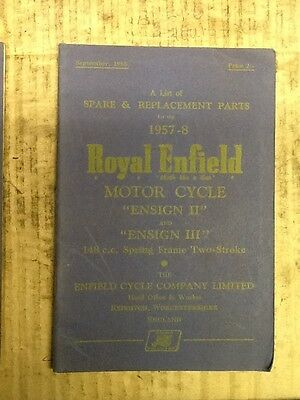 Royal Enfield Ensign 2 and 3 Parts Book 1957-58