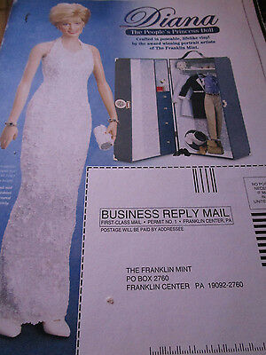 Franklin Mint Princess Diana  Doll AD White Halter Gown++ / Advertisement ONLY
