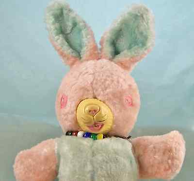 Vintage Stuffed Easter Bunny Rabbit Celluloid Pnk Button Eyes Rubber Muzzle Doll