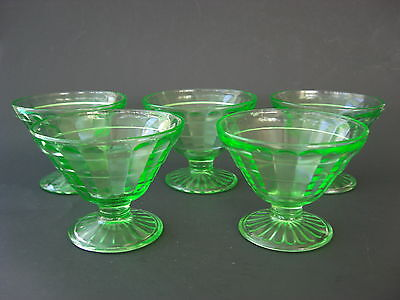 5 GREEN DEPRESSION GLASS *BLOCK OPTIC*  SHERBET DISHES