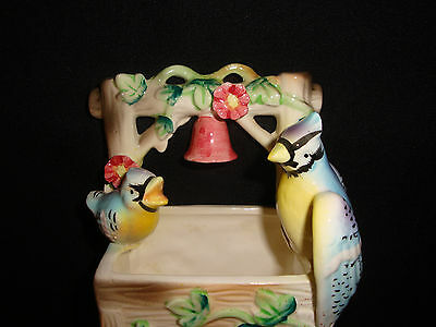 Ceramic two birds at a well made in japan VASE Small