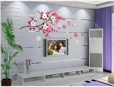 Cherry Blossom Flowers Tree Removable Wall Art Decals Vinyl Stickers Mural