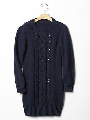 69d32071816 GAP Kids Girls Festive Sequin Cable Knit Navy Sweater Dress XS 4 5 NWT  50