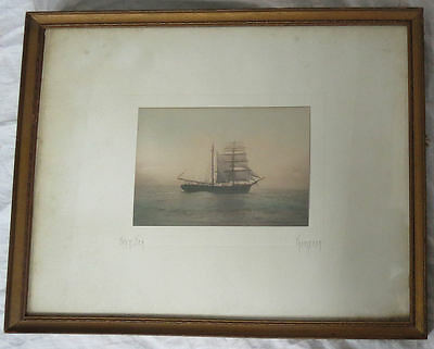 Hand Tinted Colored Photograph Photo Print Over Sea Signed Thompson Vtg Old