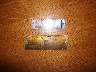 1940,s Solid Brass  Industrial  Westinghouse  Motor Nameplates Made in U.S.A.