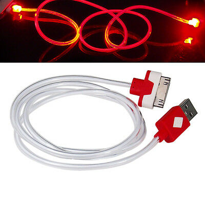 LED Light 30 PIN USB Charger Data Sync Cable for iPhone 3s/4/4S Ipod iPad2/3 Red