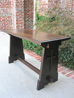 Antique English Christianity GOTHIC Crosses Prayer Bench Coffee Table Hall Seat