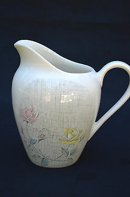 "LOVELY 1960S J&G MEAKIN STAFFORDSHIRE ENGLAND ROSE DUET WATER PITCHER, 7.5""H"