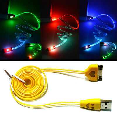 LED Light 30 PIN USB Charger Data Sync Cable for iPhone 4/4S Ipod iPad2/3 Yellow