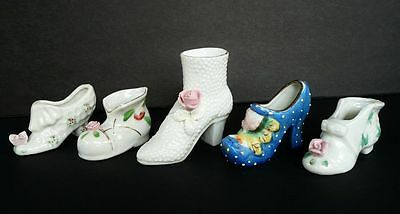 5 VINTAGE PORCELAIN DECORATED SHOES WITH APPLIED FLOWERS ROSES MADE IN JAPAN