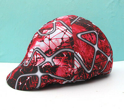 Equestrian Riding Helmet Cover Red Black gray white abstract English or Western