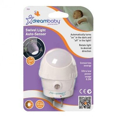 New Dreambaby Auto Sensor Rotating Swivel LED Night Light Baby Nursery Dream