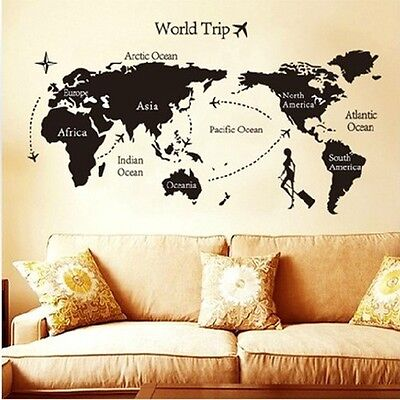 World Trip Map Removable Vinyl Quote Art DIY Wall Sticker Decal Mural Room Decor