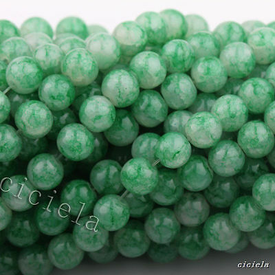50pcs Green Floral Czech Crystal Glass Roud Spacer Loose Beads Finding 6mm