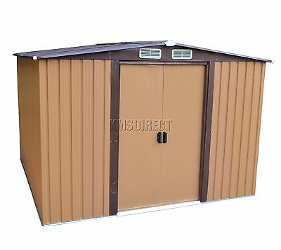 FoxHunter Garden Shed Metal Apex 10 X 8FT Outdoor Storage Foundation Coffee New