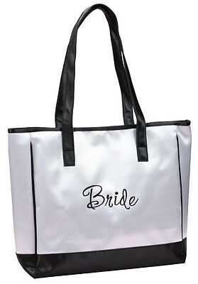 Black and White Bride Tote Bag Wedding Bridal Shower Gift Party Embroidered