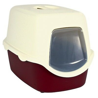 Vico Cat Litter Tray, with Hood  40 × 40 × 56 cm Bordeaux, cream T-40273