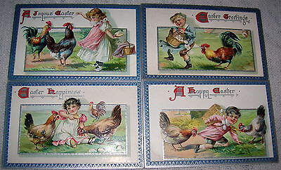 Lot of 4 Vintage Children with Hens TUCK Easter Greetings Embossed Postcards