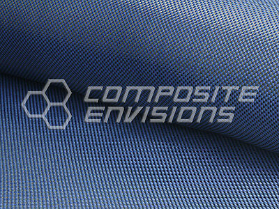 "Carbon Fiber/Blue Kevlar Cloth Fabric Plain Weave 50"" 3k 5.5oz/186.48 gsm"