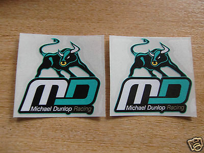 2x Michael Dunlop Racing stickers / decals - 75mm - isle of man TT / superbikes