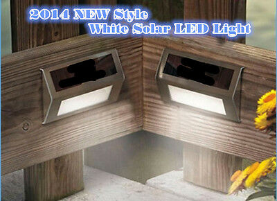 4PCS Solar Stainless Steel Garden Patio Step Stair Deck Wall LED Lights Safely