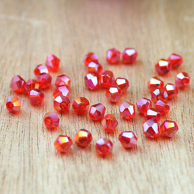 Free Shipping DIY jewelry 100PCS Austria Crystal 5301 3mm bicone Beads Red AB