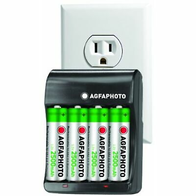 Agfa Extreme Rapid Home & Car Charger w/ 4AA x 2500 mAh Recharge NIMH Batteries