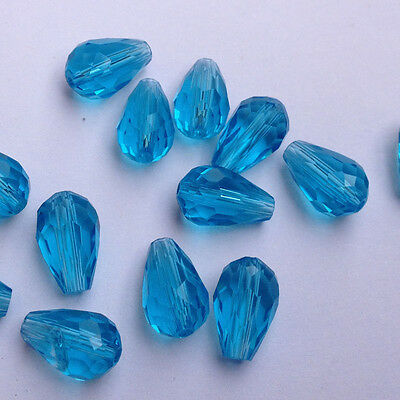 20pcs 8x12mm Teardrop Glass Faceted Loose Crystal Spacer Beads ,lake blue@#