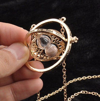 Harry Potter Time Turner Hermione Granger Rotating Spin Hourglass Chain Necklace