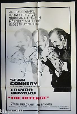 The Offence Original 1972 1 Sheet Poster Sean Connery Trevor Howard