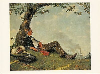 (P033) Postcard - Norman Rockwell - The Philosopher