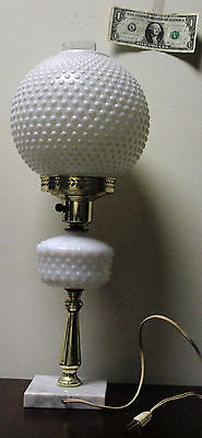 Gone with the Wind Large Hobnail Milk Glass Hurricane Lamp 2 globes VTG marble