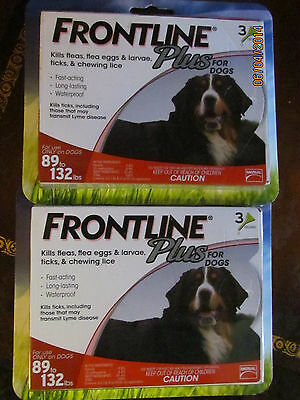 Merial Frontline PLUS FOR DOGS 89-132 LBS. 2 BOXES OF 3--6 MONTHS SUPPLY!