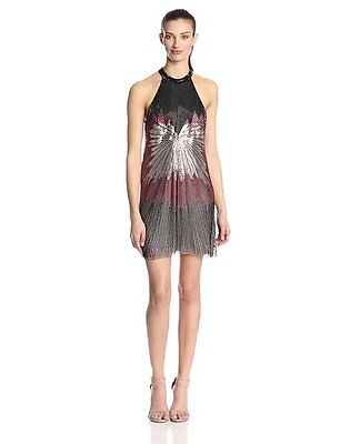 Parker Isla Sunburst Beaded Shift Dress Silver Black & Red Sz Small NWT Sold Out